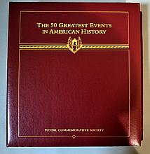 POSTAL COMMEMORATIVE SOCIETY 50 GREATEST EVENTS IN AMERICAN HISTORY Lot includes Binder of 105 pages with stamps and historical information. Each page in plastic sleeves. sleeves 13 1/2''H. 11''W. Condition, age appropriate wear. All items sold as
