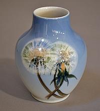 ROYAL COPENHAGEN VASE   Hand painted porcelain vase with dandelions.  4''H. 1 1/2''daim.top.  3 1/4''diam.widest part.  Mark, Royal Copenhagen 2639, 45a.  Condition, age appropriate wear.