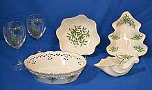 LENOX ''HOLIDAY'' PATTERN ACCESSORIES LOT 6 PIECES Lot includes, 1 Oval reticulated bowl 9 1/4''L. 1 Christmas Tree shaped bowl 9''L. 1 (8) Petaled bowl 8''diam. 1 Undecorated Cornucopia vase 6 1/2''H. And 2 Wine glasses with Christmas Tree
