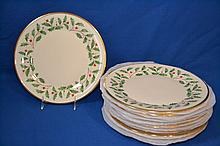 LENOX ''HOLIDAY'' DINNER PLATES LOT 12 PIECES  Lot includes, 12 Holiday pattern dinner plates. Holly design with gold rim.  10 3/4''diam.  Mark, Dimension Collection Lenox Holiday Made in USA. Condition, age appropriate wear.