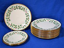 LENOX ''HOLIDAY'' PATTERN DINNERWARE LOT 12 PIECES  Lot includes, 10 Salad Plates. 8 1/4''diam. And 2 Bread plates. 6 1/2''diam.  Mark, Dimension Collection Lenox Holiday Made in USA. Condition, age appropriate wear.