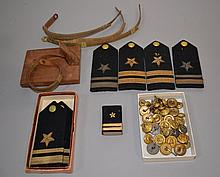 MILITARY LOT 35+ PIECES  Lot includes, 3 sets epelettes. 4 braid cap bands. 30 military buttons. And, 1 plaque. No Mark. Condition, age appropriate wear. All items sold as is.