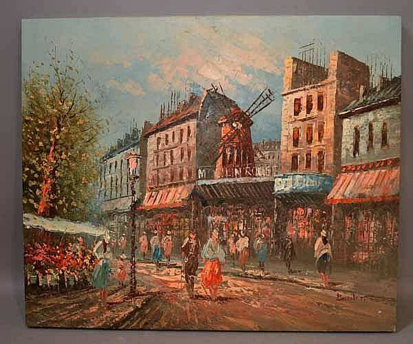 C. BURNETT PARIS SCENE VIEW OF MOULIN ROUGE. Caroline C. Burnett (20th c. ) View of Moulin Rouge, Paris, oil on canvas, unframed, palette knife technique. Signed: lower right: Burnett. Size; 20''H, 24''W. Condition: age appropriate wear.