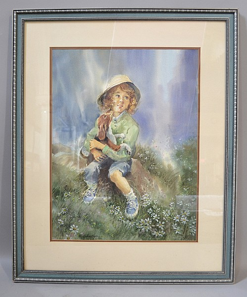 JESSE HAGER (AMERICAN, 1921-2007) Original Watercolor of a Girl with a Puppy. Signed lower left ''Jess Hager, 82''. 18''x24''. Frame, 33''H. 27''W.  Condition, age appropriate wear.