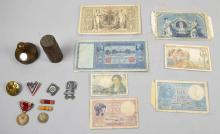 COLLECTION OF FOREIGN PAPER MONEY, miiltary medals and other eclectic items.