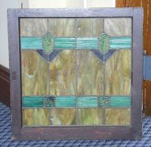 STAINED GLASS WINDOW. 28.5''H x 28.5''L.