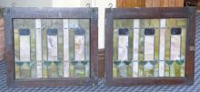 PAIR OF STAINED GLASS WINDOWS. 23''H x 26''L each.