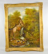 W WIDGERY - Cottage in woods, oil on canvas, Signed: lower right W. Widgery 1861, Frame: gilt frame - Condition: relined; Age appropriate wear ; All items sold as is. Dimensions: 37''H x 28''W.