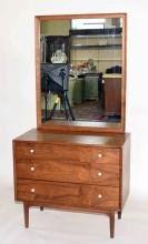 MID CENTURY KIPP STEWART DECLARATION WALNUT BACHELOR'S CHEST, by Drexel. With mirror. Condition: Minor surface scratches.