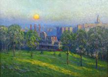 Christian Walter impressionistic oil of the Pittsburgh environs. visible art- 21.5