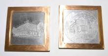 PAIR OF STEEL PRINTING PLATES, 9.5''H x 9.5''W each, Phillips Gas and Oil Building and Church of Christ. Provenance: Phillips Collection, Butler, PA.