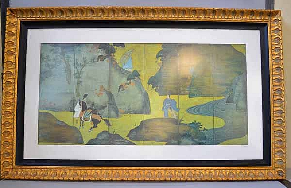 FRAMED REPRODUCTION OF JAPANESE 6 PANEL SCREEN. Reproductive print of Japanese 6 panel screen, matted and framed in gilt wood frame. Co mark. Size; frame: 312 1/2''H. 53''W. Condition: age appropriate wear.