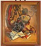 JOHN STEVENS COPPIN (American 1904-1986) Still life of fly fishing gear, oil on canvas, signed lower right John S. Coppin and dated '51. Contained in painted wood frame. Condition: no visible defects. Dimensions: 30'' X 25'', frame 35 5/8'' X 30, John Stevens Coppin, Click for value
