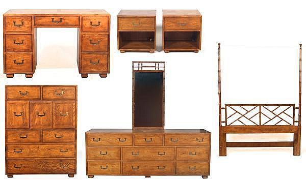 SIX PIECE HENREDON CAMPAIGN STYLE BEDROOM SUITE (Circa 1970\'