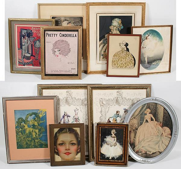 HOMER CONANT AND OTHER ART DECO PRINTS LOT 12 PIECES. Lot includes: (1) Homer Conant (1887-1927) Dressed for the Masquerade Ball signed in the plate, matted with French matte in gilt wood frame. From 1916-1920 Conant was a costume designer on