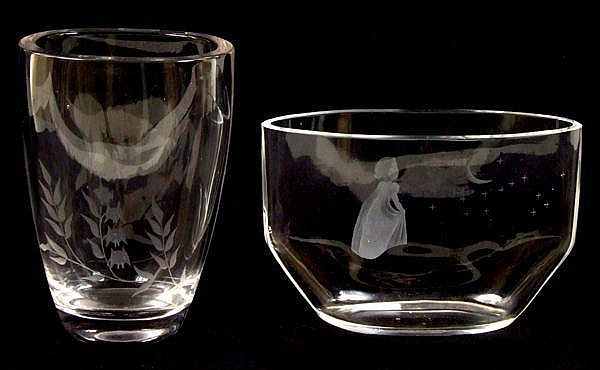 TWO SWEDISH CRYSTAL VASES. Lot includes: (1) Orrefors crystal vase, oval shape, front and back engraved design of young girl gazing at the moon. Marked: script: Orrefors 2729 111.D.C. Size: 4 1/4''H, 6 1/4''W. 2 1/2''D. Condition: age appropriate