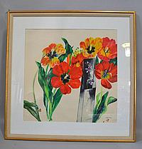 MALLE LEIS ''MIDDAY'' 1980 WATERCOLOR. Malle Leis (b. 1940 Estonia). 1980 watercolor of tulips, matted and framed under glass in gilt frame. Signed lower right: Leis 75-80. Size: window: 23 1/4''H, 23''W. frame: 32 1/2''H, 32 1/2''W. Condition: age