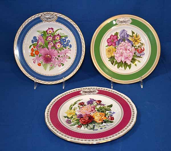 3 CHELSEA FLOWER SHOW PLATES. 3 Porcelain English porcelain plates created for the Royal Horticultural  sc 1 st  Invaluable & 3 CHELSEA FLOWER SHOW PLATES. 3 Porcelain English porcelain