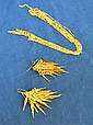 18 K ITALIAN GOLD LOT 2 PIECES. Lot includes: (1) 18K Italian Etruscan style fringe earrings. wire back . 2''L. Weight: 5.6 DWT. (1) 18K gold multi strand necklace. 17''L. Weight: 3.1 DWT. Condition: total weight: 8.7 DWT. Condition: all jewelry sold