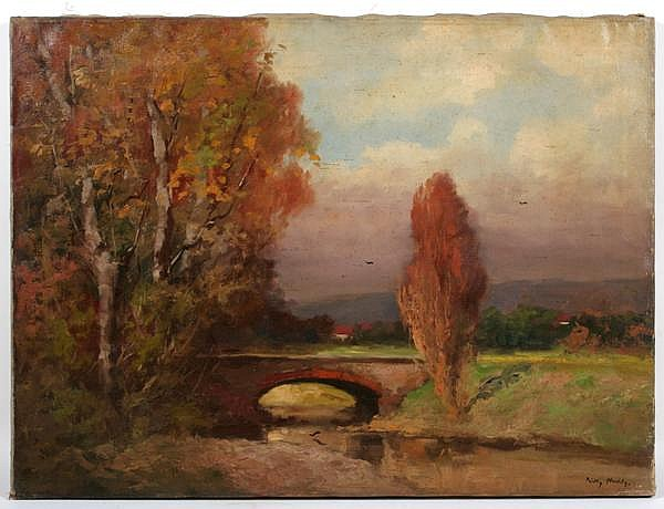 PADLY ALADAR (Hungarian 1881-1949) Autumn landscape, oil on canvas, signed lower right. Unframed. Condition: yellowed varnish, no visible defects. Dimensions: 23 1/2'' X 31 1/2''.