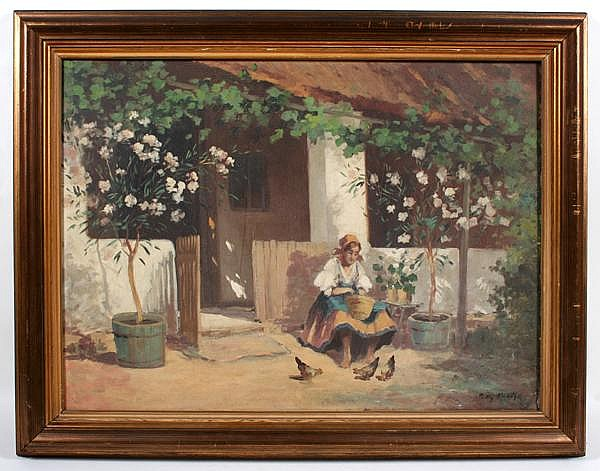PADLY ALADAR (Hungarian 1881-1949) Woman and birds in farmyard, oil on canvas, signed lower right Padly Aladar. Contained in molded frame. Condition: craquellure. Dimensions: 23'' X 31'', frame 29'' X 37''.
