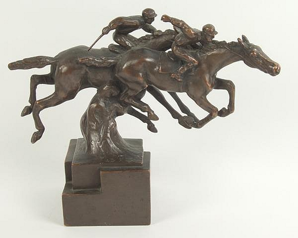 HERZEL ART BRONZE SCULPTURE. Paul Herzel (1879-1955) art bronze cast of racing jockeys on block form base, metal over plaster. Marked: (c) Paul Herzel. Size: 8 3/4''H, 11''L, 4''W. Condition: age appropriate wear, whip missing from front jockey.