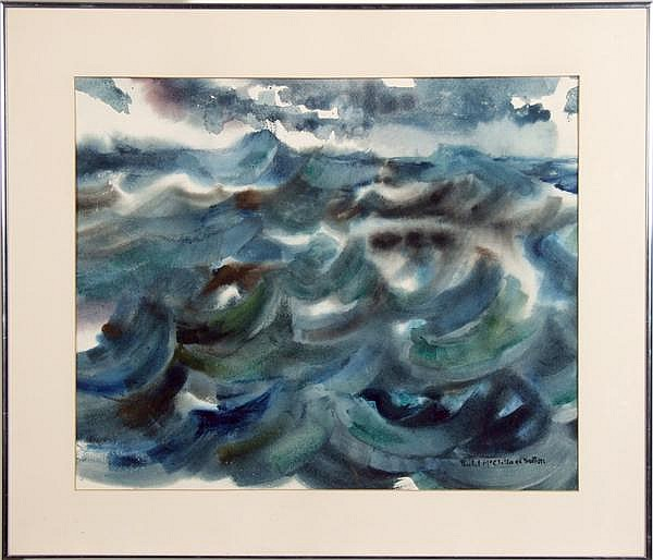 RACHEL MCCLELLAND SUTTON (Pittsburgh 1887-1982) 'Ocean', watercolor, signed lower right Rachel McClelland Sutton. Titled and dated 1960 on verso. Contained in matted narrow metal frame under glass. Condition: no visible defects. Dimensions: window