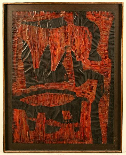 RUSSELL GOULD TWIGGS (Pittsburgh 1898-1991) Untitled, collage & ink - wax finish, signed on verso Twiggs, mounted on masonite. Contained in narrow wood frame. Condition: several small chips to exposed edges of paper. Dimensions: 28 3/4'' X 20 7/8'',