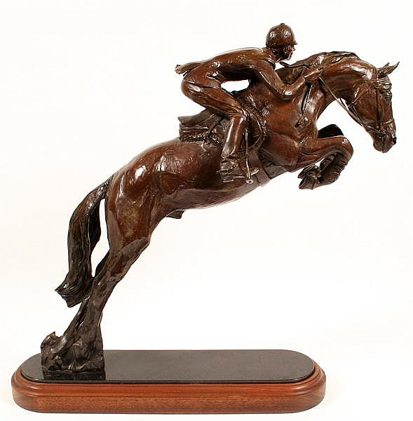WILLIAM F. REESE (1938- ) 'The Last Hurdle', bronze sculpture, signed, numbered 11/22 and dated '88. Bronze sculpture of horse and jockey on black marble and walnut molded base. Condition: no visible defects. Dimensions: 22 1/4''H., overall 24