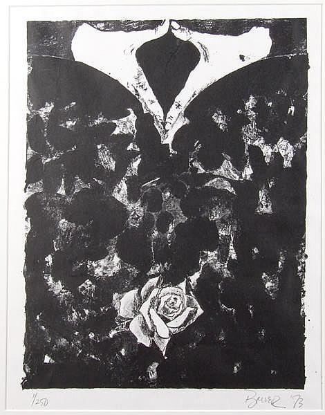 GARY BOWER LITHOGRAPH. (American b. 1940) Modern graphic image depicting hands and roses, from 1973. Mark: 1/250, Signed lower right. No visible damage. Dimensions: 22 3/4''x17 5/16''. Provenance: Allen Memorial Art Museum, Oberlin, OH.