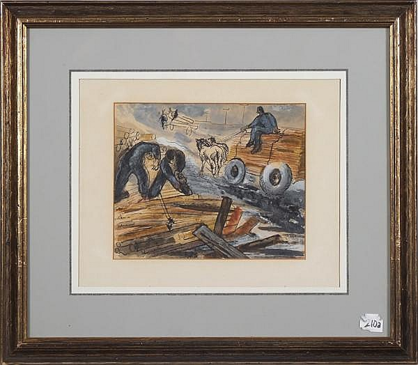 EMIL KELEMEN (Hungarian-American 1895-1975) 'Fatelep' or Lumberyard, watercolor on paper, signed lower left Kelemen Emil also inscribed 1P46.T.21.52. Titled and signed on verso. Contained in matted frame under glass. Condition: old masking taped to
