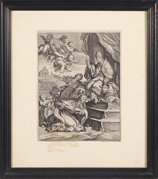 LENARDI ENGRAVING OF INNOCENT XI. Giovanni Battista Lenardi (1656-1704) engraving of James II in supplication before Pope Innocent XI.. Marked: (lower left) Gio Batta Lenardi rom inv. et delin. (lower right) Arnoldo Van Westerhout (1651-1725)Flam