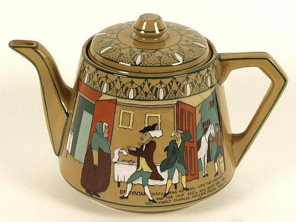 EMERALD DELDARE WARE TEAPOT. Buffalo Pottery emerald Deldare teapot, scene of Dr. Syntax. Marked: 1911 Buffalo Pottery Emerald Deldare Ware Underglaze. artist signed ''J. Geyhatch''. Size: 5''H, 3 3/4''Diam. base. Condition: chip on spout, other age