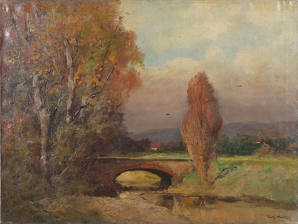 PADLY ALADAR (Hungarian 1881-1949) Autumn landscape, oil on canvas, signed lower right. Unframed. Condition: yellowed varnish, no visible defects. Dimensions: 23 1/2'' X 31 1/2''. (7)