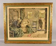 FRANS CHARLET (BELGIUM, 1862-1928) - ''Dutch Interior''; 1924 Original Color Etching; Pencil signed in lower margin: numbered 180 left, signed ''Frans Charlet'' right; paper label on reverse; set in gilt frame by Braus Galleries, New York City, New York (paper label on reverse); Measures: Visible Art 22.5''H x 27.5''W, Frame 27.5''H x 32.5''W - Condition: Age appropriate wear; All items sold as is.