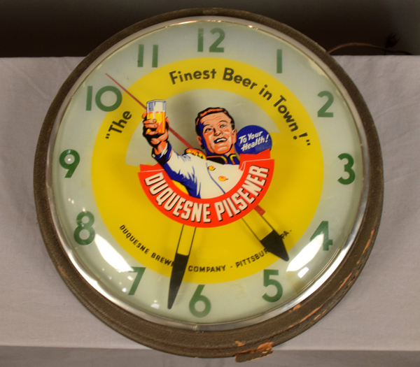 Duquesne Pilsener Wall Clock Round Electric Lighted Clock