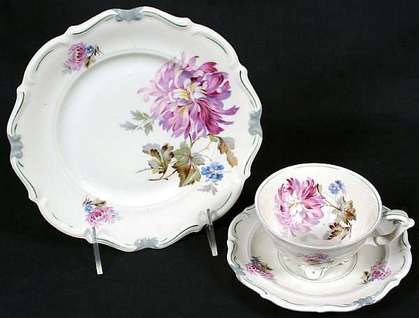 C. TIELSCH & CO. PORCELAIN LUNCHEON SET 34 PIECES. C. Tielsch & Co. Altwasser, Silesia (later Hutschenreuther) porcelain luncheon set, shaped rim, decaled polychrome flowers, grey and green decorated rims. Marked: CT Nelson Altwasser. Includes: (12)