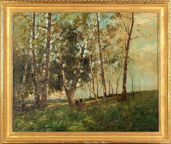 GEORGE BOYLE, ATTRIBUTED (British fl. 1884-1899) Landscape with figures and trees, oil on canvas laid on masonite, unsigned. Attributed on verso circa 1889. Contained in molded gilt frame. Condition: laid on board, scattered spots of overpaint.