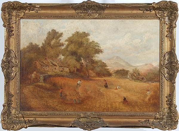 RICHARD ELMORE (British fl. 1852-1893) 'The Valley Farm and Mill: Harvest Time', oil on canvas, signed lower left Richard Elmore and dated 1893. Titled on metal plaque. Signed and titled on verso. Contained in a molded gilt frame. Condition: area at