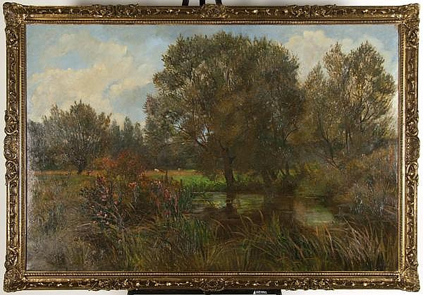 SIR HERBERT HUGHES-STANTON (British 1870-1937) Landscape, oil on canvas, signed lower right Hughes-Stanton. Contained in molded frame. Condition: four patches visible on verso. Dimensions: 36'' X 54'', frame 41'' X 59''. (65)