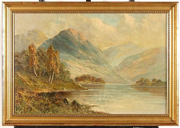 F.E. JAMIESON (British 1895-1950) Highland landscape, oil on canvas, signed lower left F.E. Jamieson. Contained in plain molded gilt frame. Condition: no visible defects, examined under ultraviolet light. Dimensions: 16'' X 24'', frame 19'' X 27''.