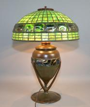 TIFFANY STUDIOS GREEN TURTLE BACK LAMP WITH LEADED SHADE