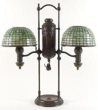 TIFFANY STUDIOS DOUBLE STUDENT LAMP WITH LEADED SHADES