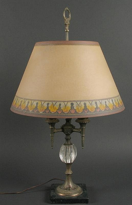 PAIRPOINT LAMP WITH GLASS SHADE