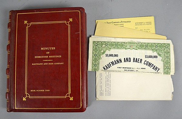 KAUFMANN AND BAER COMPANY MINUTE OF DIRECTORS' MEETINGS BOOK 2 1942-1958 AND OTHER KAUFMANN'S EPHEMORA