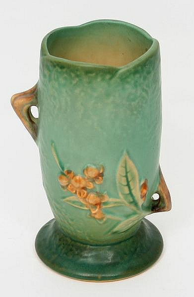 ROSEVILLE BITTERSWEET VASE. Roseville American art pottery vase, Bittersweet (1940) pattern, green ground with brown blossoms, twig handles. Marked: (raised) Roseville USA 881-6''. Size: 6 1/4''H, 3 1/2''Diam. base. Condition: age appropriate wear.