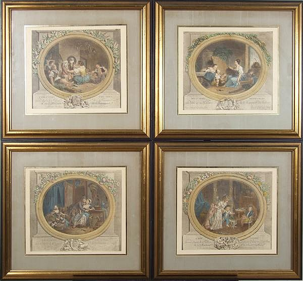 AFTER NICOLAS DELAUNAY (French 1739-1792) Set of four (4) mid 20th c. colored engravings. Contained in silk matted frames under glass. Condition: no visible defects. Dimensions: window 11 1/4'' X 13 1/4'', frames 18 1/2'' X 20''.