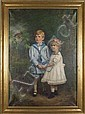 RICHARD CREIFELDS (1853-1939) Young boy and girl looking at bird on branch, oil on canvas, signed lower left R. Creifelds. Contained in molded gilt frame. Gallery label: Geisler Bros. Art Dealers, Pittsburgh, PA. Condition: canvas sagging at corners,, Richard Creifelds, Click for value