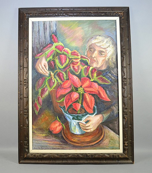 PRISCILLA LONGSHORE (AMERICAN/PA, 1907-1992) - Genre painting; oil on board; Woman with plant signed lower left Priscilla Longshore Garrett 1976; Set in a carved wood frame; Measures: Visible Art 36''H x 24''W, Frame 43''H x 41''W - Condition; minor