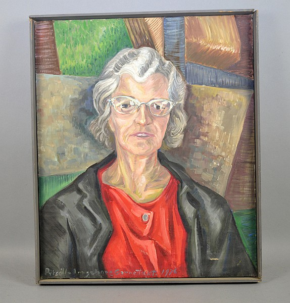 PRISCILLA LONGSHORE (AMERICAN/PA, 1907-1992) - Self Portrait painting; oil on canvas; lower left Priscilla Longshore Garrett 1976; Framed Size 24''H x 20''W - Condition: Minor abrasions; Age appropriate wear; All items sold as is.